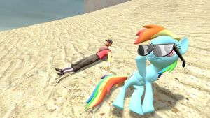 Scout and Rainbow Dash at a Beach by BriefCasey795