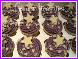 White Chocolate Stars and Purple Butter Cream by gertygetsgangster