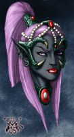 Commission: Drow Head Color by LRCommissions