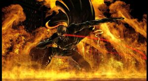 Wesker on fire by monkeygigabuster