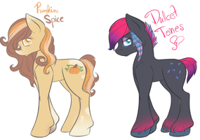 Two Pretty Pony OCs by alleynurr