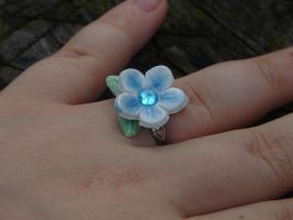 Blue flower ring by Wolf-Witch