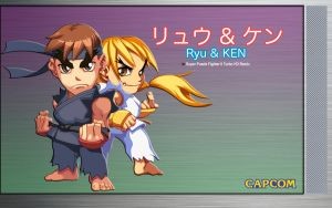 Ryu and Ken - Original Desktop by iFab