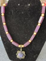 Purple and gold Steampunk necklace by BlackUnicornWood