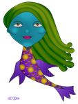 Neon Fish Girl by 21citrouilles
