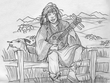 Penelope's Song - pencil by lennan