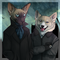 Catlock and DogJohn by ninetail-fox
