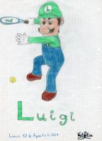 Luigi tennis by Dino-drawer