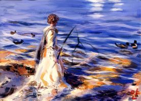 Lady Fishing by ByunCaricature