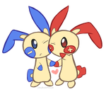 Plusle and Minun by SaturnCheese