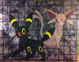 Umbreon and Espeon by QueenoftheLemurs