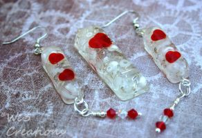 Sweet Red Heart Pendant and Earring Set by kelleejm1