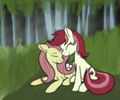 Roseluck and Fluttershy -request- by Enma-Darei