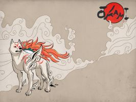 Amaterasu and Issun by shases
