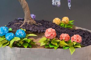 Origami Bonsai - Hydrangea Closeup by The-Elven-Artisan