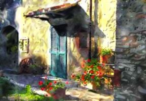 Tuscan Doorway soft watercolor by Pendragon1951