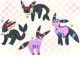 Shiny Umbreon/Vaporeon Hybrid Adopts -CLOSED- by Vanilliana