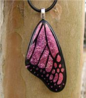 Pink Fused Glass ButterflyWing by FusedElegance