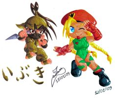 Chibi Ibuki and Cammy by Ian-the-Hedgehog