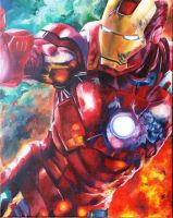 IRON MAN oil on canvas by eddonkulous
