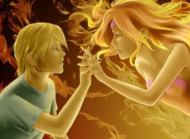 Finn and Flame Princess by AngelInWutherland