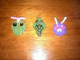 Clay Caterpie Family Pendants by Esca-Lutum