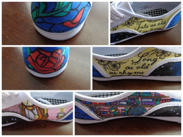 Detail of Beauty and the Beast Shoes by JurassicMacaroni