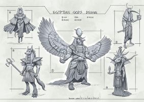 Egyptian Gods by rowenawangart