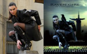 Raven Girl Before and after by CindysArt