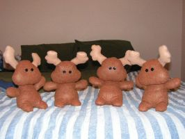 Herd of Moose Plushies by pinktoque