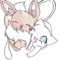 Mew and Eevee - Colored by iCandyCum