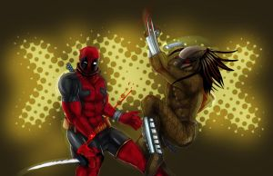 Deadpool vs Predator by suspension99