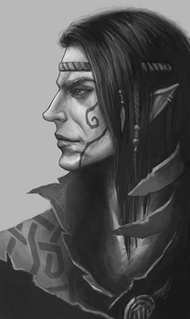 Wild Elf Male - Sketch by Werlioka
