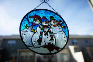 Snowman Stained Glass by LDFranklin