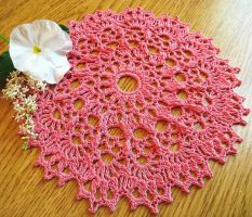 Coral Raised Stitch Crochet Doily in Bamboo by doilydeas