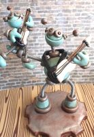 Father Son Guitar Playing Robot Sculpture by HerArtSheLoves
