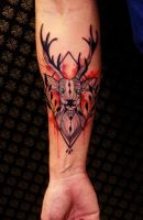 Watercolor + Deer Tattoo by beststyle