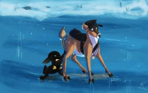 Scout and Demoman on the ice by Konnestra