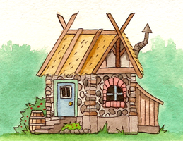 Watercolour cottage by SaintBonkers