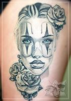 Portrait with roses tattoo by iseeyoursky