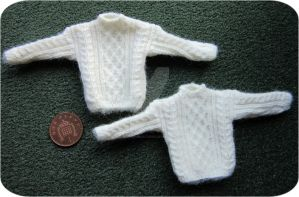 1:12th scale Unisex Aran jumpers by buttercupminiatures