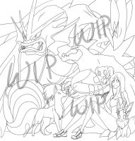 PokeTeam Commission WIP by XxoOjunefoxOoxX