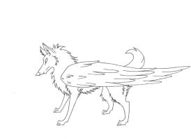 free lineart  - winged wolf by Wolflover38