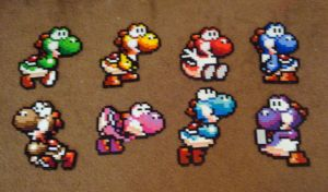 Perler Super Mario World 2 Yoshi Collection by Pika-Robo