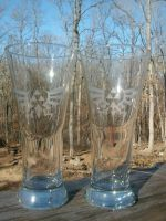 Zelda Royal-Hylian Crest Tall Glasses Set by ZombieBunnySlaya