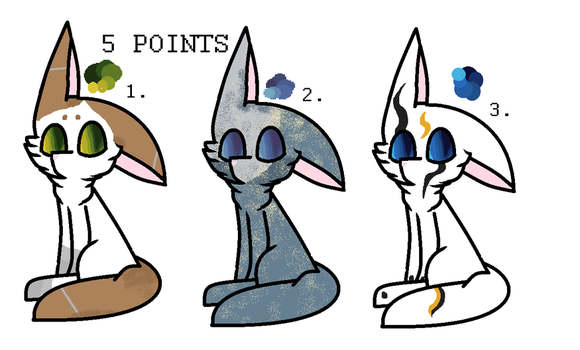 5 point cat adoptables that didn't sell yet. by eeveetheshiny