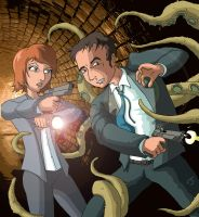 Mulder and Scully VS Tentacles by coldangel1