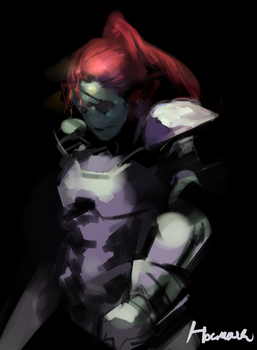 Rough sketch: Undyne by Uiya-namie