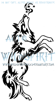 Leaping Starry Wolf Tattoo by WildSpiritWolf