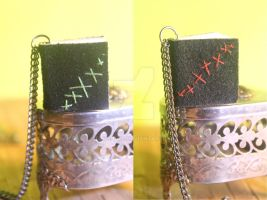 Stitched - Mini Book Necklaces by Elvaneyl